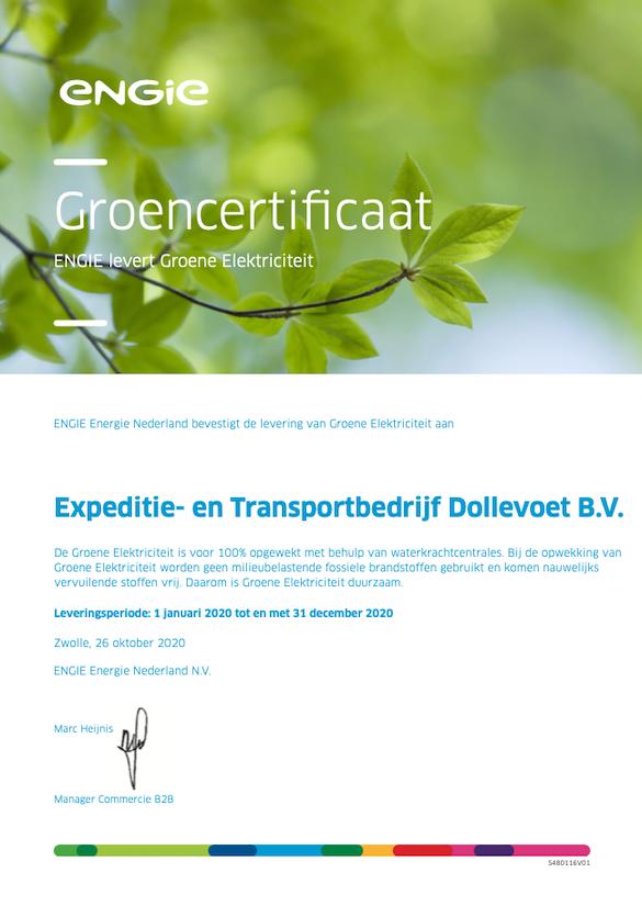 Groencertificaat Engie - Dollevoet - 2021