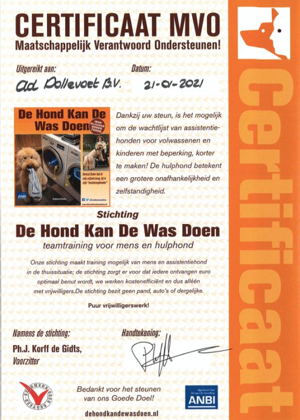 Maatschappelijk verantwoord ondersteunen-certificaat - Dollevoet - 2021