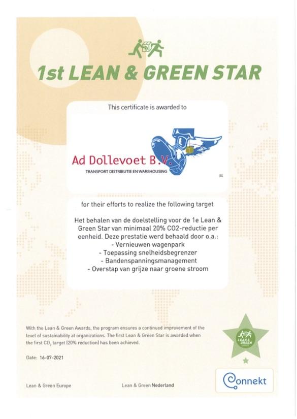 Certificaat van de 1e Lean & Green Star
